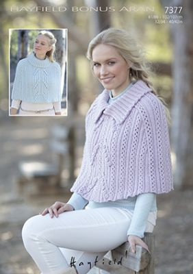 Hayfield Bonus Aran - 7377 Cape Knitting Pattern